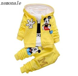 Wholesale 2019 New Children Girls Boys Fashion Clothing Sets Autumn Winter Piece Suit Hooded Coat Clothes Baby Cotton Brand Tracksuits Y19AL