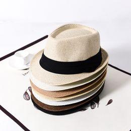Straw braid hatS online shopping - Fashion Men Panama Straw Hats Woman Fedora Brim Sunscreen Hats Classic Soft Unisex Summer Beach Sun Caps TTA953