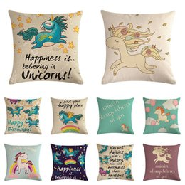 Horse pillows online shopping - Cartoon Linen Unicorn Horse Cushion Covers Children Birthday Gift Home Office Decor Throw Pillowcase x45cm Pillow Case ZY1019