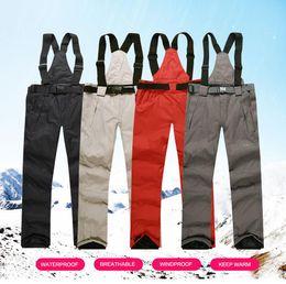 Warm Waterproof Pants Men Australia - wHOLESALE Men Ski Pants Warm Outdoor Sports Snow Trousers Winter Snowboard Hombre With Shoulder Straps Waterproof