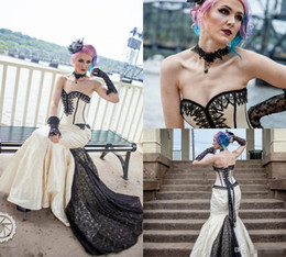 plus size wedding dresses taffeta Australia - Goth Gothic Bridal Steampunk Gown Halloween Wedding Sweetheart Lace Up Back Sweep Train Satin robe de mariée Sweep Train Plus Size Dress