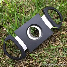 $enCountryForm.capitalKeyWord Australia - Pocket Plastic Stainless Steel Double Blades Guillotine Cigar Cutter Knife Scissors Tobacco Black New Fast Shipping