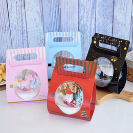 Wholesale New Portable Round Plastic Mousse Cup Cupcake Boxes Christmas Ball Dessert Cake Box Birthday gift packaging
