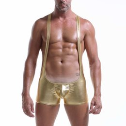 $enCountryForm.capitalKeyWord NZ - Stretch Shapers Tight Leotard Sexy Men's Shiny Underwear Bodysuit Boxers Jumpsuits Wrestling Singlets Gay Shaper Clubwear New