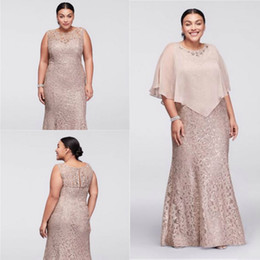 $enCountryForm.capitalKeyWord Australia - 2019 Mother Of Bride Dresses Plus Size Jewel Neck Champagne Full Lace With Cape Wrap Beaded Floor Length Mermaid Wedding Guest Dress