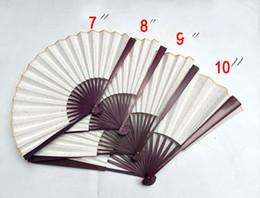 """Chinese Painting Paper Australia - Large Blank White Hand Fans Rice Paper Chinese Folding Fan Painting Adult calligrapher Fine Art Program Bamboo Fan 7"""" 8"""" 9"""" 10"""""""