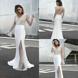 Modest Wedding Dress Sheath Lace Australia - Bohemian Sheath Wedding Dresses with Long Sleeve 2019 Modest Lace Stain V-neck Full length Sheer Back Garden Bridal Temple Wedding Gown