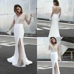 $enCountryForm.capitalKeyWord Australia - Bohemian Sheath Wedding Dresses with Long Sleeve 2019 Modest Lace Stain V-neck Full length Sheer Back Garden Bridal Temple Wedding Gown