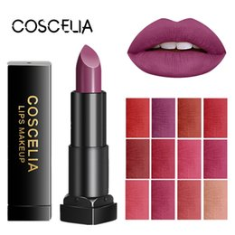 sexy makeup NZ - COSCELIA Hot Sale 12 Colors Waterproof Matte Lipstick Long Lasting Lipstick Lip Gloss Makeup For Beauty Matte Sexy Red