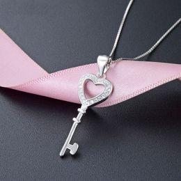 Korean Ladies Pendant Australia - New Korean 925 sterling silver classic heart key necklace pendant elegant temperament schoolgirl fashion first jewelry ladies necklace penda