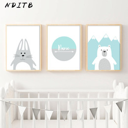 pictures personal Australia - NDITB Cartoon Canvas Painting Personal Name Custom Posters Nursery Prints Wall Picture Nordic Baby Kids Bedroom Decoration