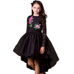 China Retail girls dress baby girl lace flower embroidery mermaid black evening dresses kids party skirt tutu children boutique luxury clothing supplier black lace full length gown suppliers