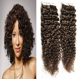 Hair Colors Australia - Afro Kinky Curly Hair 100g Virgin Brazilian Kinky Curly Tape In Human Hair Extensions PU Skin Weft Tape In Curly Hair Extensions Many Colors
