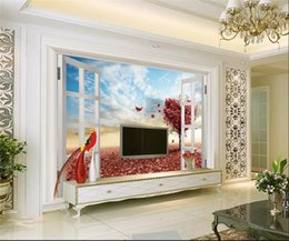 Wall stickers for kitchen WindoW online shopping - custom size d photo wallpaper living room mural Window Love Tree Fallen Leaves D picture sofa TV backdrop wallpaper non woven wall sticker