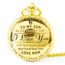 $enCountryForm.capitalKeyWord Australia - Best Gift Quartz Pocket Watch with Chain High Quality Fashion Style Gold Pendant Mom Dad Love Xmas Gift