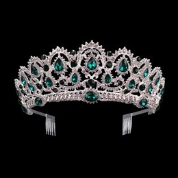 $enCountryForm.capitalKeyWord Australia - air Jewelry KMVEXO Green Red Blue Crystal Tiaras Vintage Silver Rhinestone Pageant Crowns With Comb Baroque Wedding Hair Jewelry Accessor...