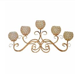 1 peça criativa Europeia ferro forjado de cristal artigos castiçal / romântico à luz de velas jantar mobiliário / 5 cabeça castiçal em Promoção