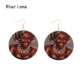 Indian Girls Paintings Australia - Painted Queen Round Wood Black Girl Queen Drop Earring Ethnic Handmade Wooden Hiphop Pendant Statement Earrings Party