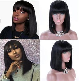 $enCountryForm.capitalKeyWord NZ - Celebrity Wig Bang Lace Front Wig 180% Density Silky Straight Natural Color 10A Malaysian Remy Human Hair Full Lace Wigs for Black Women