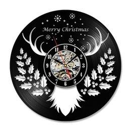 Vente en gros Creative cadeau de noël disque vinyle horloge murale mur de wapiti art noël maison renne cerfs décor pour la vie
