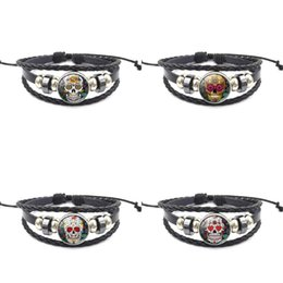 Gem chains online shopping - Flower Skull Charm Bracelets Time Gem Manual Weave Pu Leather Wristband Retro DIY Chain Women And Man Jewelry Fashion Popular xs UU