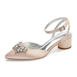 bridal dresses butterflies UK - Pointed toe 3D butterfly crystal brooch satin lady evening dress shoes sandals slingback thick block heels bridal wedding prom