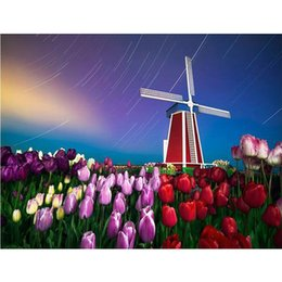 pictures tulip paintings Australia - 5D DIY Diamond Painting Cross Stitch Round Square Diamond Embroidery Tulip & Windmill Picture Diamond Mosaic Decor Paintings