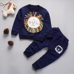 Half Children Shirts Australia - Clothing Autumn Winter Children Cotton Underwear Long-sleeved T-shirt Trousers Baby Printing Clothes Pants Boy Girl Sport Suit