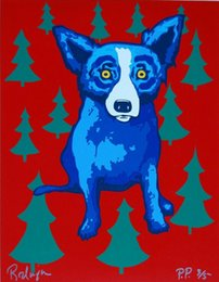 wrapped canvas prints Australia - a068 George Rodrigue Blue Dog Wrap Me Up For Christmas Home Decor Handpainted &HD Print Oil Painting On Canvas Wall Art Canvas Pictures 0112