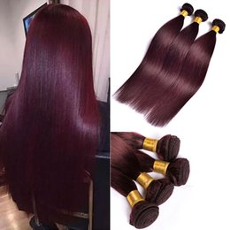 Burgundy Wet Wavy Hair Australia - 99J Burgundy Brazilian Straight Human Hair Weaves 3 Bundles 8 to 26 Inch Hair Weaving Wet and Wavy Non Remy Hair Extensions
