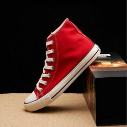 $enCountryForm.capitalKeyWord Australia - New Arrival Summer Fashion Girl Flats Shoes All Black White red Casual Shoes Women Canvas Shoes Lace-Up high top NN-1414