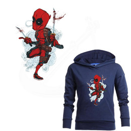 Wholesale Europe Pop hero Cartoon Deadpool Iron on Patches For Clothing DIY T shirt jacket hoodie Grade A Thermal transfer stickers