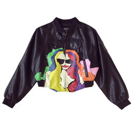 $enCountryForm.capitalKeyWord Australia - 2018 New Spring Autumn Loose Graffiti Printing PU Leather Jackets Zipper Batwing Sleeve Outwear Female Baseball Leather Coats