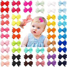 "white alligator hair clips NZ - 50 Pcs lot 25 Colors In Pairs Baby Girls Fully Lined Hair Pins Tiny 2"" Hair Bows Alligator Clips For Little Girls Infants Toddler"