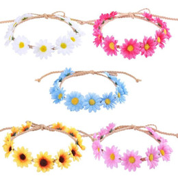 burgundy garland Canada - Straw hat rope long pointed sun flower garland Weaving small daisy hair band beach holiday hair band GB1523