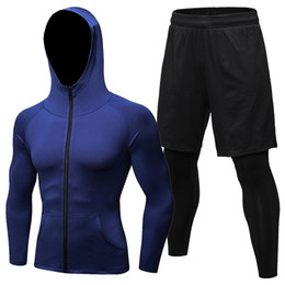 $enCountryForm.capitalKeyWord NZ - Mens Hooded Sweatshirt & 2 in 1 Shorts Pants Leggings Set Compression Shirt Long Sleeve gym Training Jacket Winter Gear Tops #671077