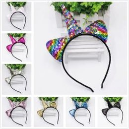 b640fbd22c Unicorn cat online shopping - 7styles Unicorn sequin Glitter Hairband Party  Headwear Cute Cartoon Headband Reversible