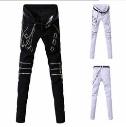 Discount white punk pants - 2019 new Europe and America punk men's fashion personality casual pants hip hop street fashion pants men's clo