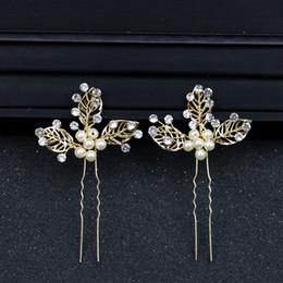 $enCountryForm.capitalKeyWord Australia - Golden Leaf Pearl Wedding Hair Pins Bride Kanzashi Accessories For Women Wedding Hair Jewelry Hairpins Decorations on the Head