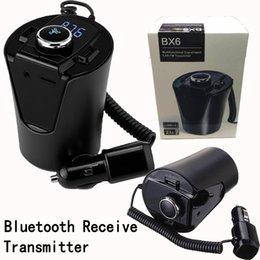 Venta al por mayor de Bx6 Coche para reproductor de MP3 Cargador Bluetooth Accesorios de coche USB para cigarrillo Cargador Transmisor FM automotriz Con paquete al por menor