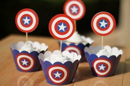 cupcake topper picks Australia - Free Shipping Captain America cupcake wrappers toppers picks decorations for boys kids birthday party favors supplies