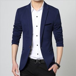 Male Fashion Suits Australia - Mens Korean slim fit fashion cotton blazer Suit Jacket black blue plus size M to 5XL Male blazers Mens coat Wedding