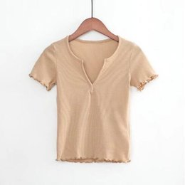 Wholesale Vintage Slit V neck Wood ears Cuff Short sleeve T shirt New Woman Slim Fit t shirt tight tee Summer Retro Tops