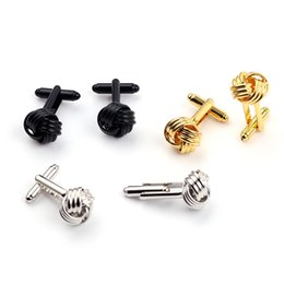 $enCountryForm.capitalKeyWord UK - New Style Fashion Knot Design Men Cufflinks Gold Silver Black Party Suit Shirt Cuff Button Male Personalized Accessories Jewelry