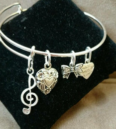 $enCountryForm.capitalKeyWord NZ - Bow Music Love Heart Charm Bracelets Expandable Wire Bangle Bracelets Fashion DIY Jewelry Friendship Gift Bangle Bracelet Accessories