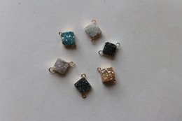 $enCountryForm.capitalKeyWord Australia - 10mm square crystal pendant with druzy two connectors on corner and side for jewelry making,free shipping