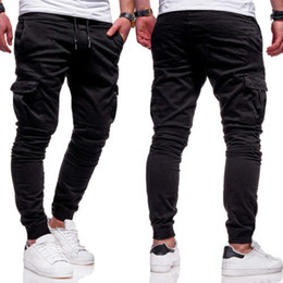 Wholesale working pants resale online – Pencil Pants Men Elasticated Waist Cargo Pant Combat Trousers Jogger Work Bottoms Slim Long Pants Men