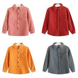 $enCountryForm.capitalKeyWord Australia - New Arrivals INS Kids Boys Polos Linen Cotton Fabric Long Sleeve Turn-down Collar Blank Fornt Buttons Pockets Designs Children Girls Shirts
