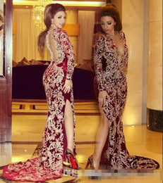 Myriam Fares V Dress Australia - Myriam Fares 2019 Dark Red Sexy Plunging V Neck Long Prom Dresses Gold Lace Appliques Long Sleeves Arabic Formal Evening Party Gowns