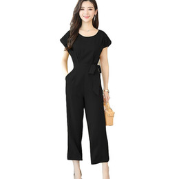 Discount jumpsuit wide legged chiffon - Short-Sleeve High Waist Wide Leg Pants Women Nine Points Casual Fashion Solid Chiffon Slim New Jumpsuit Suit Female Larg